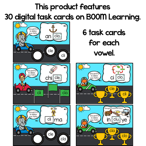 BOOM Cards Sílabas trabadas Cl (cla, cle, cli, clo and clu)- Distance Learning
