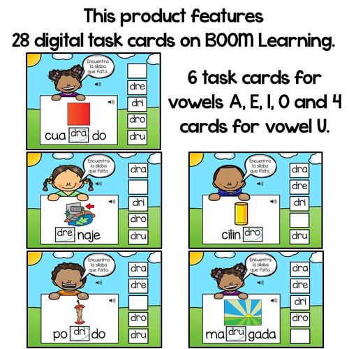 BOOM Cards Sílabas trabadas Dr (dra, dre, dri, dro and dru)- Distance Learning