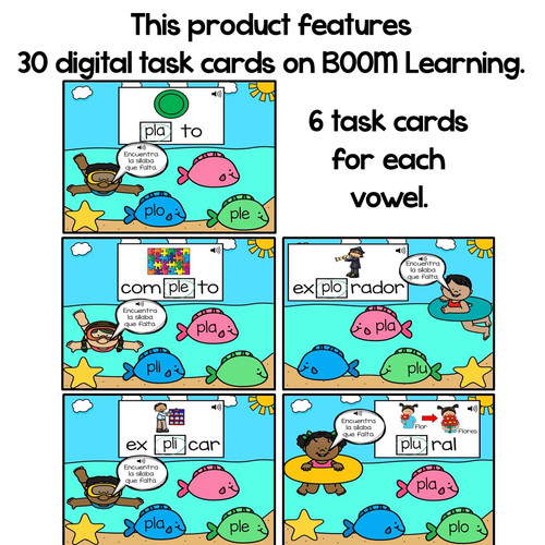 BOOM Cards Sílabas trabadas Pl (pla, ple, pli, plo and plu)- Distance Learning