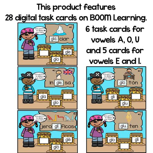 BOOM Cards Sílabas trabadas Gl (gla, gle, gli, glo and glu)- Distance Learning