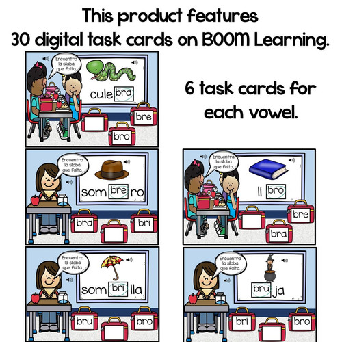 BOOM Cards Sílabas trabadas Br (bra, bre, bri, bro and bru)- Distance Learning