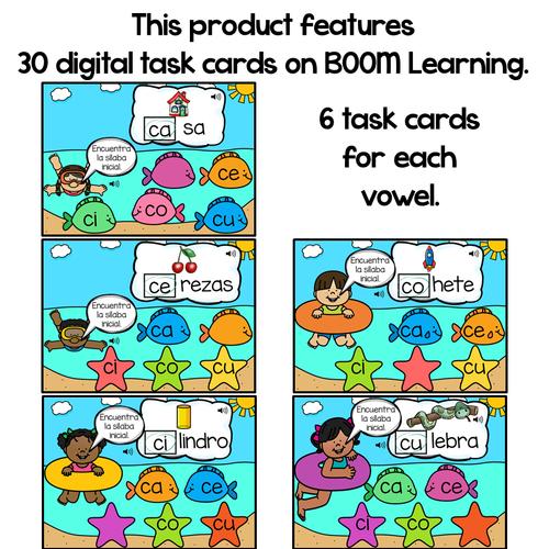 BOOM Cards Sílabas iniciales-ca, ce, ci, co, cu (Distance Learning)