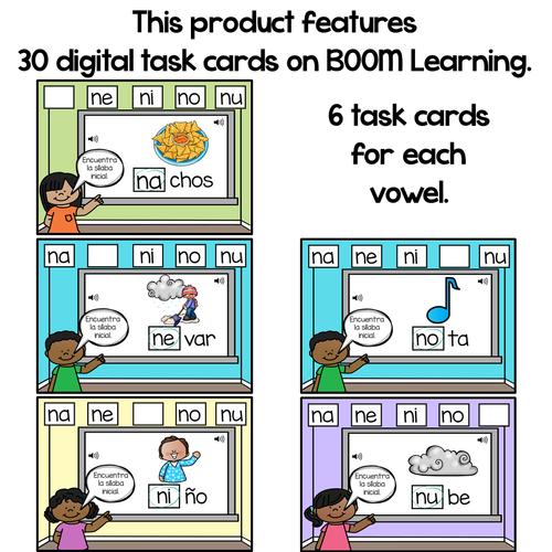 BOOM Cards Sílabas iniciales-na, ne, ni, no, nu (Distance Learning)