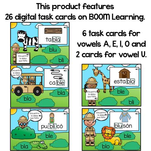 BOOM Cards Sílabas trabadas Bl (bla, ble, bli, blo and blu)- Distance Learning