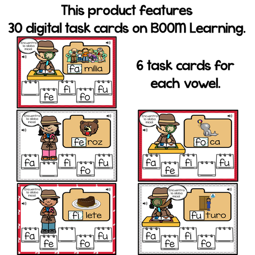 BOOM Cards Sílabas iniciales-fa, fe, fi, fo, fu (Distance Learning)