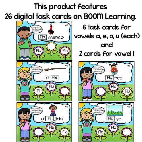 BOOM Cards Sílabas trabadas Fl (fla, fle, fli, flo and flu)- Distance Learning