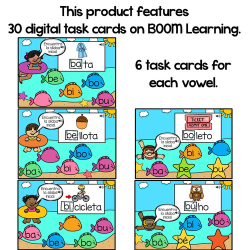 BOOM Cards Sílabas iniciales-ba, be, bi, bo, bu (Distance Learning)