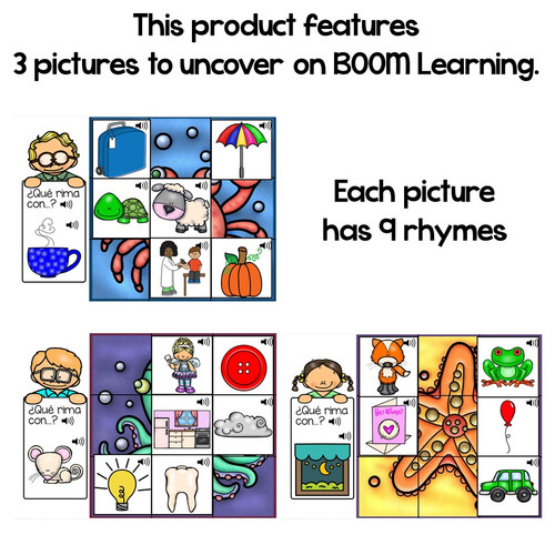 BOOM Cards Mystery Picture Rhymes in Spanish-Descubre las imágenes- Rimas