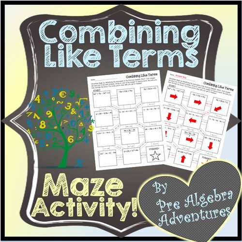 Combining Like Terms Maze Activity