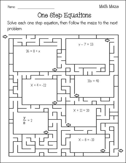 One Step Equations Maze Activity Bundle
