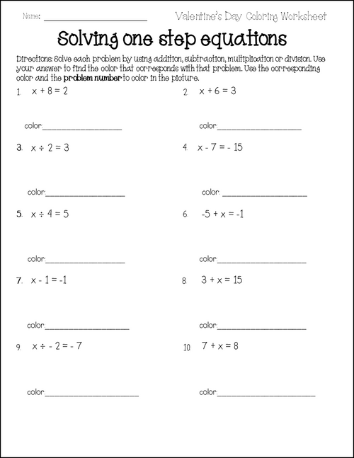 Valentine's Day One Step Equations Coloring Activity