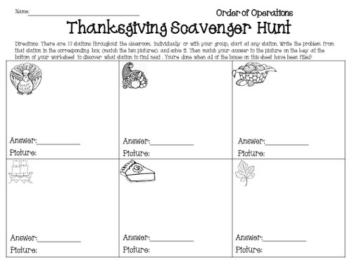 Thanksgiving Order of Operations Scavenger Hunt Activity