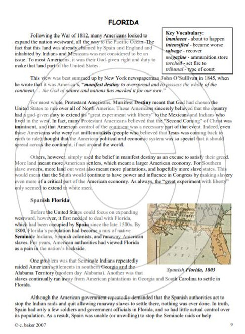 Westward Ho! Expansion of the Continental US 1783-1848, supplemental text