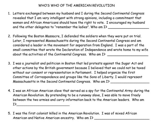 American Revolution People: Gallery Walk