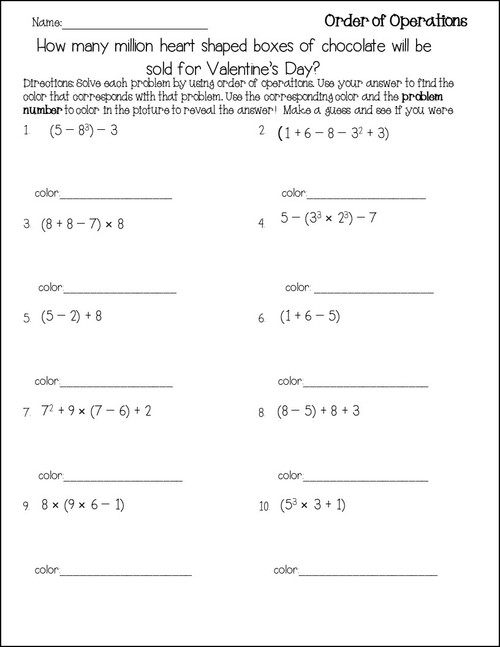 Valentine's Day Order of Operations Color Reveal Activity