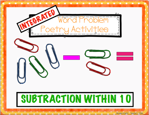Integrated Word Problem Poem Pack (Subtraction within 10)