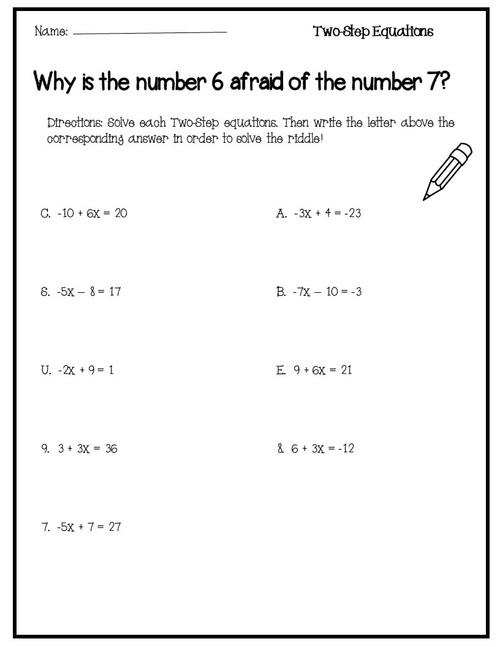 Solving Two Step Equations Funny Joke Activity