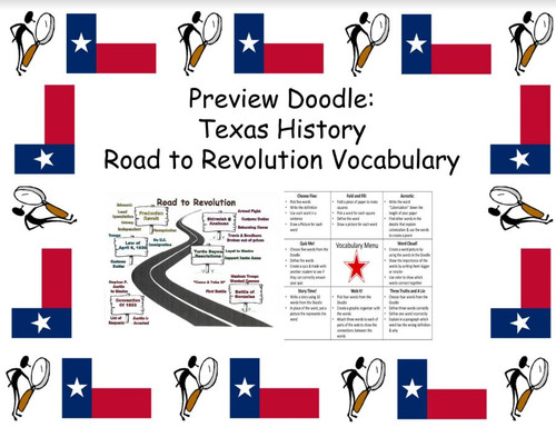 Texas History: Vocabulary Preview Doodle: Road to Revolution