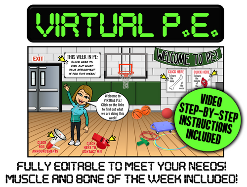 VIRTUAL P.E.- Editable with Video Instructions! Bone/Muscle of the Week Included