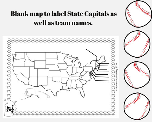 Map Major League Baseball Teams & State Capitals