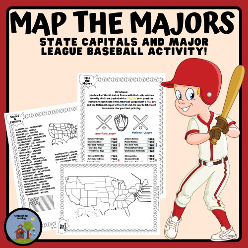 Map Major League Baseball Teams & State Capitals