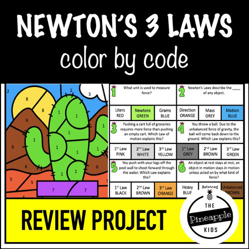 Newton's Laws of Motion Color by Number Activity