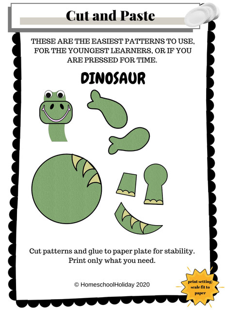 Dinosaur Paper Plate Animal Craft Paper & DIGITAL version! - Dinosaur Day June 1st