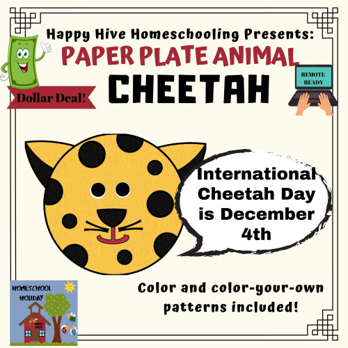 Cheetah Paper Plate Animal Craft Paper & DIGITAL version! - International Cheetah Day, December 4th