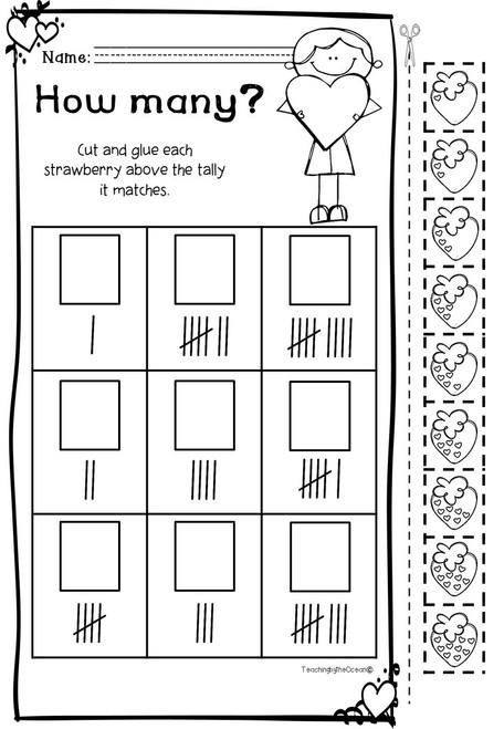 Valentine's Counting Worksheets (Kindergarten)
