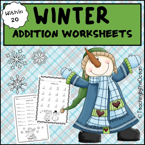 Winter / Christmas Addition to 20 Fact Fluency Worksheets 3 Ratings