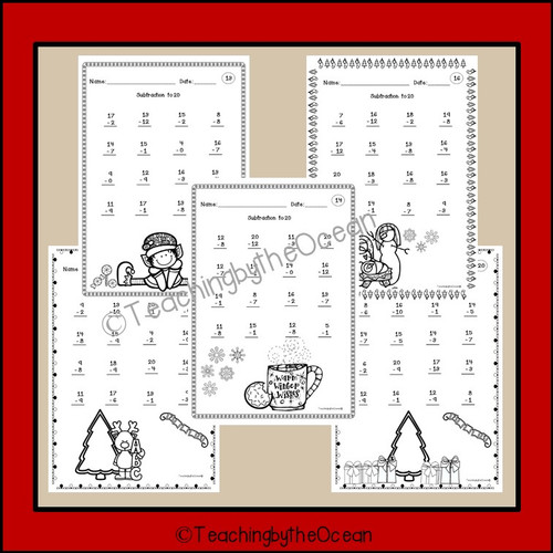 Winter / Christmas Subtraction to 20 Fact Fluency Worksheets