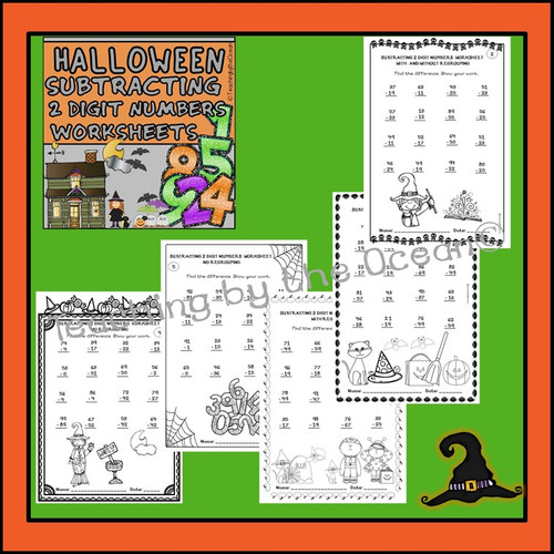 2 Digit Addition and Subtraction Worksheets - Halloween Themed