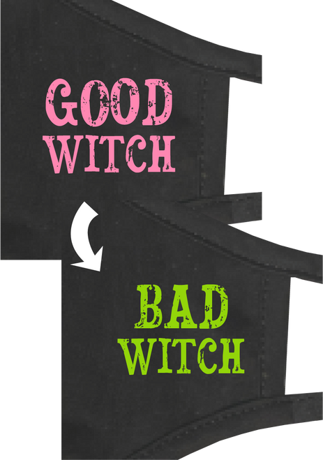 "REVERSIBLE ""Good Witch OR Bad Witch"" Adult Face Mask"