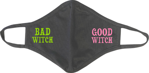 "(ONE SIDE) ""Good Witch OR Bad Witch"" Adult Face Mask"