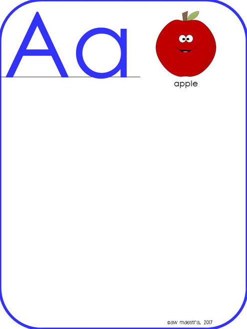 Alphabet Posters for Word Wall, ABC Flash Cards, Beginning Sounds Chart