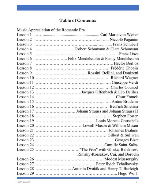 Music Appreciation of the Romantic Era curriculum guide