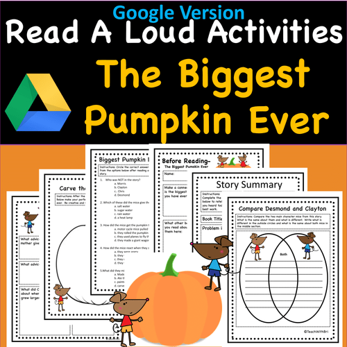 Read-A-Loud Activities- The Biggest Pumpkin Ever- Includes Both Digital and PDF Versions