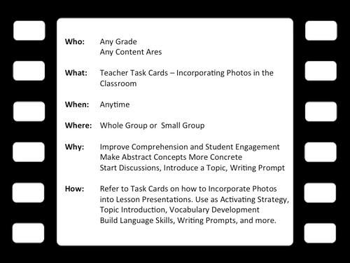 FREE - READING STRATEGY: Using Photos To Teach - Teacher Task Cards
