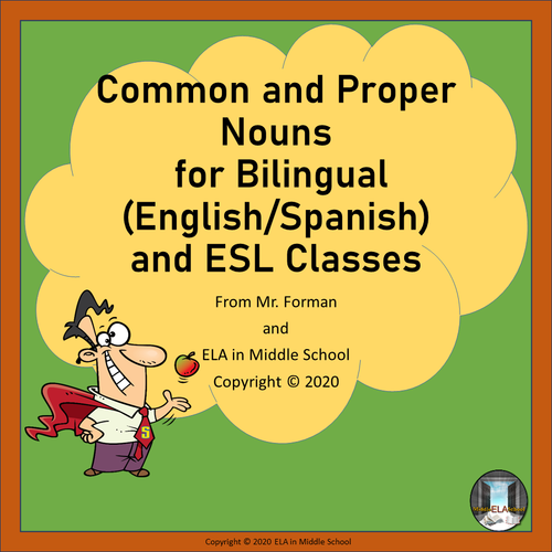 Common and Proper Nouns for Bilingual (English/Spanish) and ESL Classes BOOM! Cards