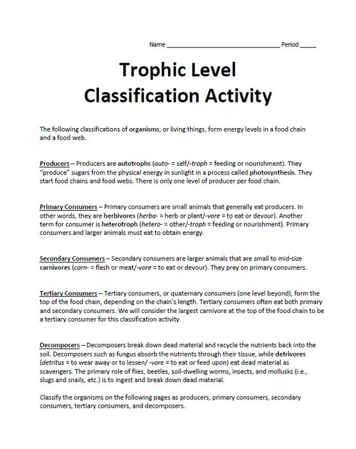 Trophic Level Classification Activity (Producers, Consumers, and Decomposers)