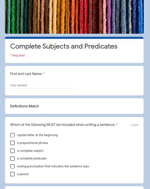 Google Forms Grammar Quiz Pack