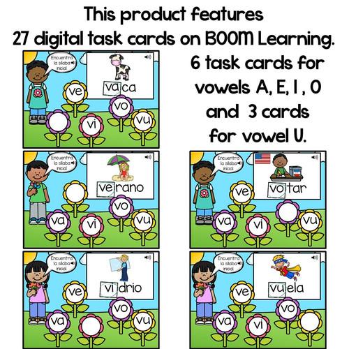 BOOM Cards Sílabas iniciales- va, ve, vi, vo, vu (Distance Learning)