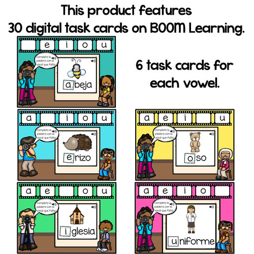 BOOM Cards Vowels in Spanish-Las vocales-Sonido inicial (Distance Learning)