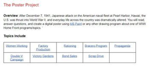 U.S. Home Front During World War Two Drawing Project: Distance Learning