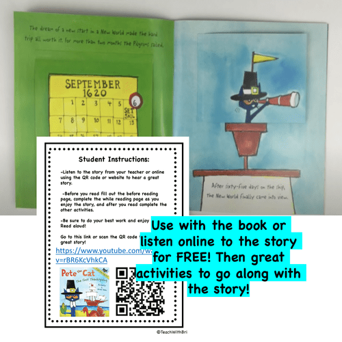 Digital Version-  Read-A-Loud Tasks- Pete the Cat the First Thanksgiving