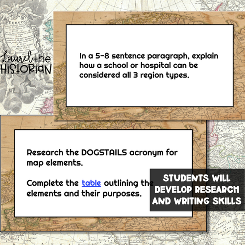 5 Themes of Geography & Map Skills Task Cards