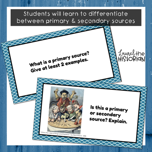 Primary & Secondary Sources Task Cards [Editable]