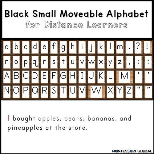 Montessori | Digital Small Moveable Alphabets | Black , Red, Blue