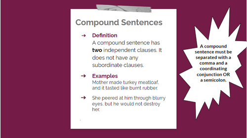 Direct instruction on the concepts of the simple sentence, the compound sentence, the complex sentence, and the compound complex sentence.