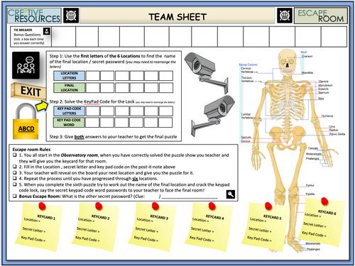 Skeletal System Escape Room